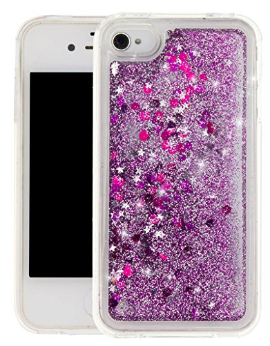 """Nnopbeclik [Coque Iphone 4 Silicone] Paillettes Briller Style Backcover Doux Soft """"Transparente"""" Housse pour Iphone 4 Coque Silicone (3.5 Pouce) Antichoc Protection Antiglisse Anti-Scratch Etui - [Ble rose1"""