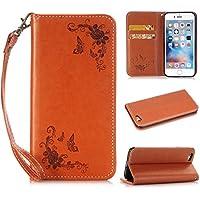 nancen Cover per Apple Iphone 5C (4pollici), Fiore e farfalla modello in pelle di lusso protezione Case Custodia Flip Cover con funzione di supporto e 2slot di