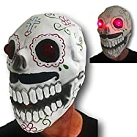 Rubber Johnnies LED Light Up Day of The Dead Sugar Skull Mask, Adult, One Size,