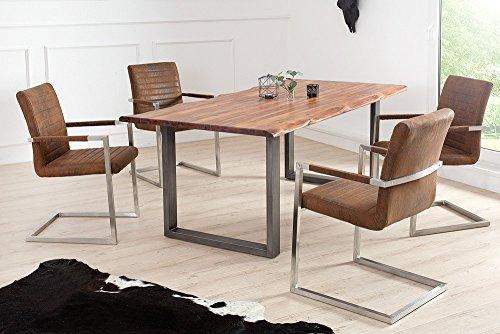 Freischwinger Stuhl IMPERIAL Vintage Braun Mit Gepolsterten Armlehnen Und  Edelstahlgestell Esszimmerstuhl