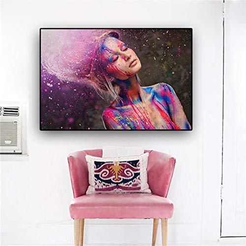Geiqianjiumai Fashion Farbe kann Frau nackt Make-up nordischen skandinavischen Poster und Drucke Wandkunst Leinwand