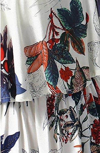 Damen Abendmode Cocktailkleid Lang Große Größen Elegant Rüschen Für Mollige Ärmellos Sling Blumenmuster Sommerkleid Hipster Maxikleider Ballkleid Partykleid M-2Xl Weiß