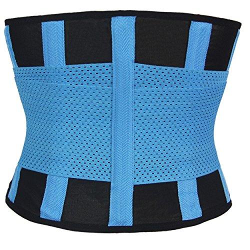 Qualitäts Sport Waist Trainer in 4 verschiedenen Farben Damen-Taillenformer Korsett Corset Power Gürtel Fitnessgürtel Bauch weg Schwitzgürtel Blau