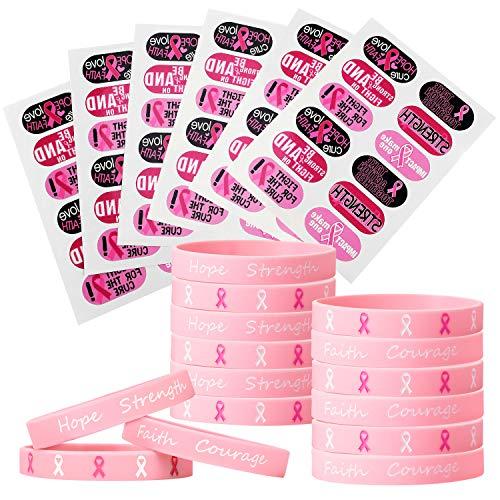 Hicarer 72 Pièces Autocollants de Tatouage de Sensibilisation au Cancer du Sein 48 Pièces Bracelet en Silicone Bracelets en Ruban Rose