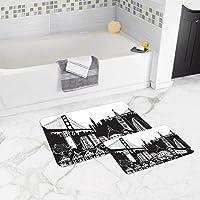 سجادة حمام مضادة للانزلاق، قطعة واحدة 50×80 سم + قطعة واحدة 50×45 سم - مصممة ومصنعة في تركيا