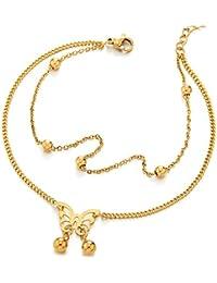 0941344b567b COOLSTEELANDBEYOND Acero Inoxidable Color Oro Dos Hileras Tobillera para  Mujer Niñas con Perla y Mariposa Bola