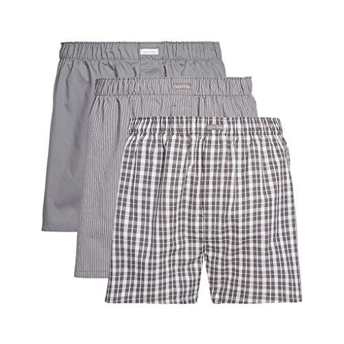 Calvin Klein Herren Boxershorts Boxer WVN 3PK Grau (Grey Sky/Glen Plaid/Matthew Stripe Ggm) Medium (Herstellergröße: M)