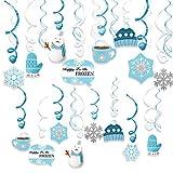 HOWAF 30 Stücke Weihnachten Schneeflocke Hängedeko Wirbel Deckenhänger Spiralen Girlande Blau Weiss Schneeflocke eiskönigin deko für Weihnachten Dekoration Winter Party