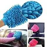 #7: HOME CUBE® 2 Pcs Double Sided Microfiber Car Window Washing Kitchen Dust Cleaning Gloves - Random Color
