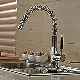Auralum® 360° Schwenkbar Silber Messing Einhebel Wasserhahn Küchenarmatur Einhandmischer Spüle Küche