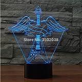 Veilleuse LED guitare 3D avec ailes d'ange design 7 couleurs de changement Télécommande tactile nuit lumière pour cadeau étonnant décoration...