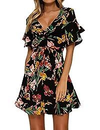 Mujer Verano Vestidos Moda Cuello en V Corto Vestido Boho Fiesta Maxi Noche Vestidos Elegante vestido de una línea Mini Vestido Floral Sayo Top Pullover Vestidos Kootk