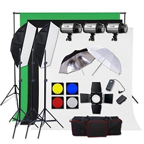 BPS Profi 900W Fotostudio Set Studioleuchte Studioblitz Studioset inkl. Abschirmklappe Schirm Baumwolle Hintergrund Stoff(weiß schwarz grün )Tasche Synchronblitzlampe Lampenstativ Softbox Set