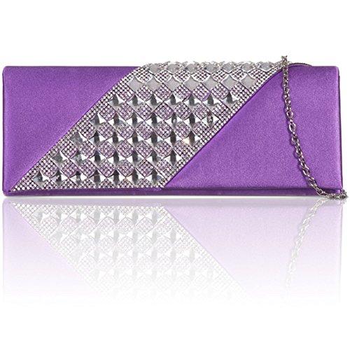 xardi in satin di seta da sposa o damigella d' onore Frizione Diamante Ladies partito di sera Prom Borse Purple