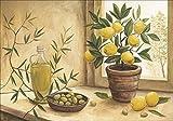 Artland Qualitätsbilder I Poster Kunstdruck Bilder 70 x 50 cm Stillleben Arrangements Lebensmittel Malerei Creme A5FA Oliven und Zitronen
