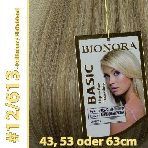 Clip-in Haar Extensions mit Echthaar, #12/613, Hellbraun/Platinblond, in 40cm, 50cm od. 60cm (+), BASIC von BIONORA, Haarverlängerung