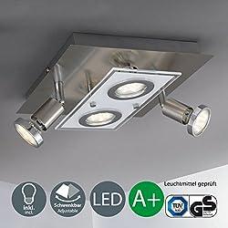 Lámpara de techo cuadrada I Incluye lámpara LED con 4 bombillas LED GU10 de 3W I Giratorias y orientables I Plafón I Metal y cristal I Foco LED para techo I Color de luz blanco cálido