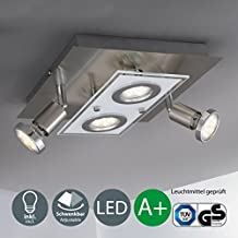 Lámpara de techo cuadrada I Incluye lámpara LED con 4 bombillas LED GU10 de 3 W I Giratorias y orientables I Plafón I Metal y cristal I Foco LED para techo I Color de luz blanco cálido I Color níquel mate I 230 V I IP20 I Superficie: 250 x 250 mm