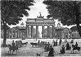 Einfarbige original Radierung Berlin, Brandenburger Tor von Mincu als loses Blatt, Graphik, kein Kunstdruck, kein Leinwandbild