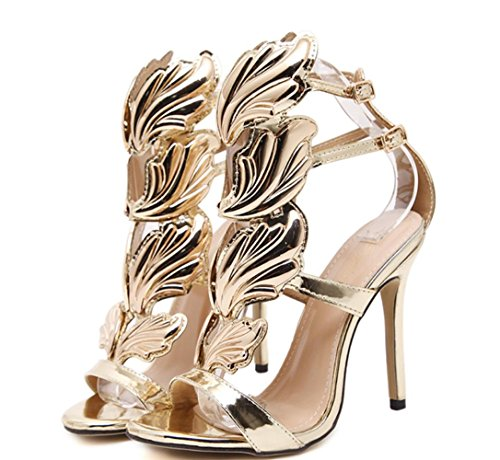 XDGG WOMEN Stiletto Heel Metal Wings High-Heeled Exposed Toe Sandalen gold nackt schwarz , gold , 38 (Oberschenkel Womens High Heels)