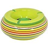 com-four® Posacenere a Vento Realizzato con Le Migliori ceramiche dolomitiche, Strisce Colorate, Ø 19,5 x H 8 cm (01 Pezzo - Ø 19,5 cm)