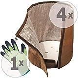 Gardopia Sparpaket - 4 x BioGreen Topf-Schutz KS50 L Winterschutz, H50cm x D45cm, 100 g/m² Vlies, Plus GRATIS Handschuhe MultiSeason OptiFlex