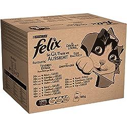 Felix Katzennassfutter So gut wie es aussieht in Gelee Gemischte Vielfalt mit Kabeljau, Rind, Huhn und Thunfisch, Jumbo-Pack 120 x 100 g Portionsbeutel