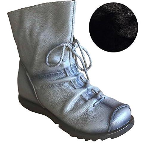 Eagsouni® Damen Stiefeletten Handgefertigte Schnürsenkel Lederstiefel Flach Leder Stiefel Mit Reißverschluss