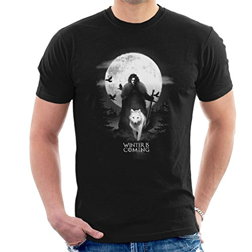 (Game of Thrones Moonlight John Snow and Ghost Men's T-Shirt)