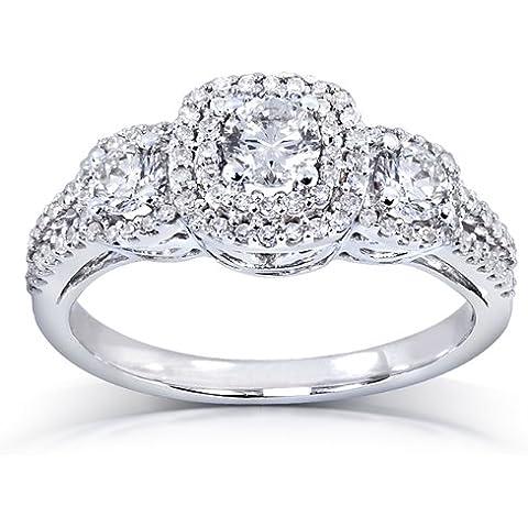 Tre pietre e diamante 1 K (ctw)-Anello di fidanzamento in oro bianco 14 k