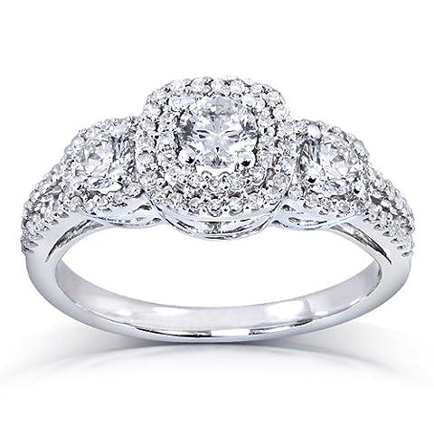 Trois Pierres de Diamant Bague de Fiançailles 1carat (ctw) en or blanc 14K