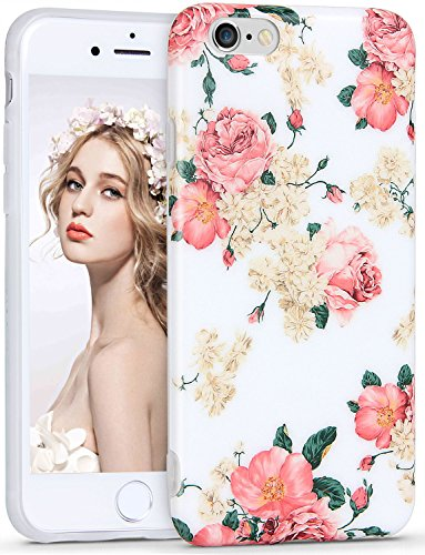 Imikoko iPhone 6 6S Hülle, Elegant Blumen Blumenmuster Retro Floral Protective Schützend Stoßfest Anti Staub Kratzer Soft Weich TPU Handyhülle Case Back Cover für iPhone 6/6s