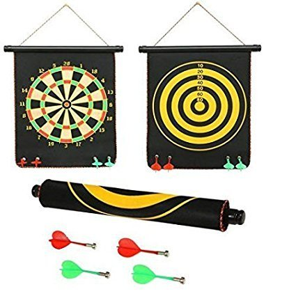 Protokart High Quality Big Size Foldable Magnetic Dart Game with 4 assorted colours non pointed magnetic darts, Double faced portable, Strong and powerful magnets, Solid darts, 12 Inches BIG size