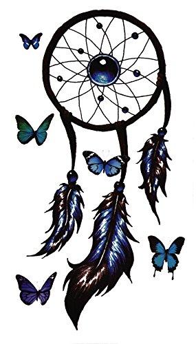 Temporäres Arm Traumfänger Fake mandala Tattoo Dreamcatcher für Frauen mit Motiv | Entfernbare Klebe Henna Tattoos Festival Abzieh-Tattoo Folie | Künstlich Schwarze Körperkunst Aufkleber Arm Sleeve (Für Up Kostüm Piraten Make Frauen)