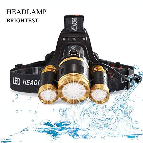 MUTANG Superheller Scheinwerfer - 6000 Lumen 3 * CREE T6 Scheinwerfer-Scheinwerfer mit 4 Modi, wiederaufladbare USB-Taschenlampe für Laufen, Wandern, Angeln, Außenbeleuchtung