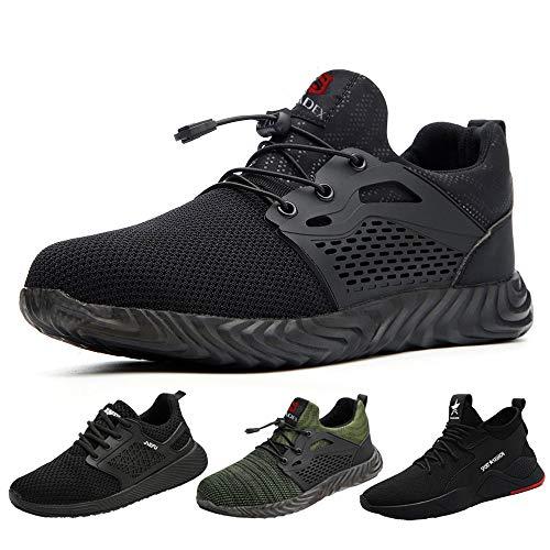 SUADEEX Sicherheitsschuhe Herren s3 Arbeitsschuhe Damen Leicht Atmungsaktiv Schutzschuhe mit Stahlkappe Sportlich Schuhe,02-Schwarz,44 EU