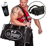 Sporttasche + Gürteltasche + Shaker, Damen und Herren Sporttasche, Tasche Sport, Hüfttasche für unterwegs, Fitness Tasche, C.P. Sports (Schwarz)