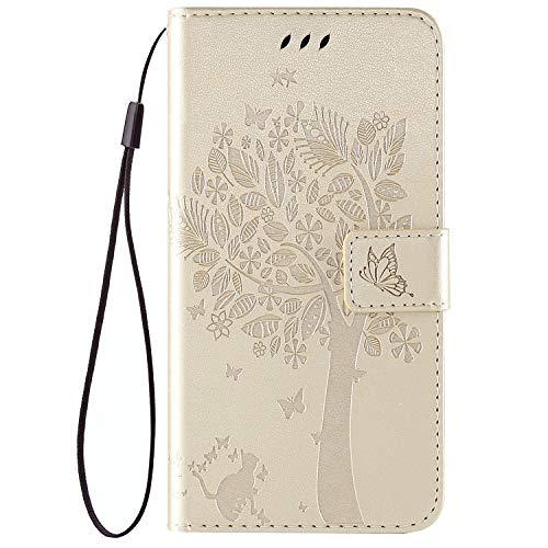 QPOLLY Kompatibel für LG K40 Hülle Leder Tasche Flip Case Katze und Baum Muster Handytasche Magnet Schutzhülle im Brieftasche-Stil mit Kartenfächer Standfunktion,Gold