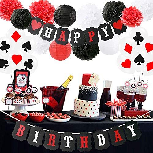 HappyField Zubehör für Poker-Themenpartys Dekorationszubehör für Casino-Partys Casino-Themenpartys, Themenpartys in Las Vegas, Casino-Nacht, Poker-Events, Dekoration für Casino-Geburtstage (Birthday-casino-banner Happy)