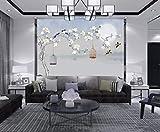 YUANLINGWEI Benutzerdefinierte Seide Wandbilder Wallpaper Chinesischen Stil Magnolie Blume Und Vogel Muster Kunst Malerei Wohnzimmer Dekoration Wandbild Tapete,230Cm (H) X 310Cm (W)