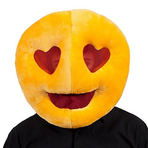 Adulti peluche cuore occhi Emoji Emoticon Cuscino travestimento divertente maschera accessori nuovo