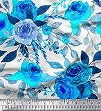 Soimoi Weiß Baumwolle Ente Stoff Austin Rose Blumen-