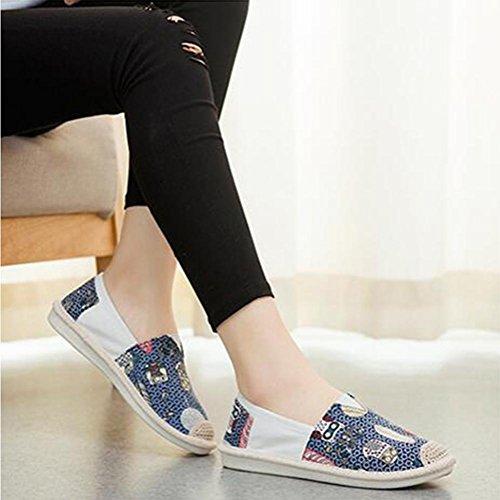 Frauen handgemachte beiläufige Schuhe Art- und Weiseweinlese-Segeltuch-flache Schuhe eine Vielzahl der chinesischen Art vorhanden Blue
