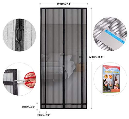 Sekey tenda magnetica per la protezione dagli insetti, zanzariera magnetica, ideale per porta del balcone, della cantina, del terrazzo, altezza e larghezza ritagliabili, montaggio semplicissimo con colla, colore nero, da 220x 100cm
