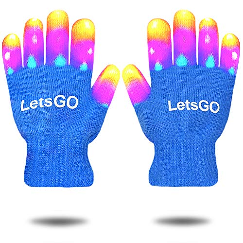 Cooler Neuer Spaß Geschenke für Jungen ab 4-10, EUTOYS LED blinkendes Kostüm Ankleiden Finger leuchten Handschuhe für Kinder Ideen Spielzeug für 3-12 Jahre Mädchen blau CCUKST01 (4. Juli Ideen Für Die Party)