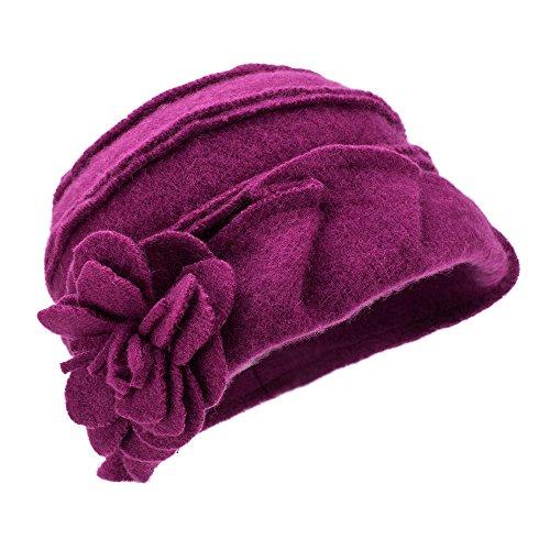 Sombrero de invierno, para mujer, estilo retro de los años 20, 100% de lana, gorro con forma cuadrada, A376 morado Morado Oscuro Talla única
