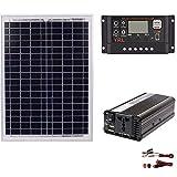 Set di pannelli solari, AC220V 1500W Sistema di generazione di energia solare Pannello solare + Regolatore solare + Set di inverter, Sistema di alimentazione solare a 12V / 24V60A Ac Sistema