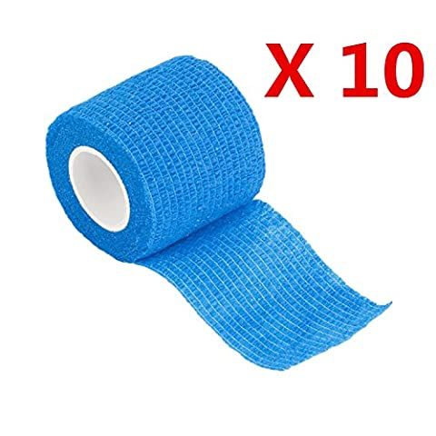 10-Roll Self-Adhesive Elastic Bandage, Blue Cohesive Bandage Wraps Adhesive First Aid Tape Stretch, 5cm Width, 4.5m