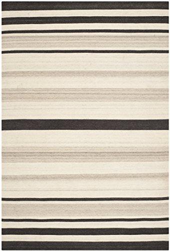 Safavieh Weston Handgewebtes Flachgewebe Teppich, Wolle and Bananenseide, Natürlich / Grau, 182 x 274 cm