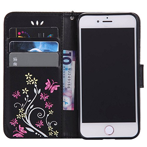 iPhone 5s/SE Custodia, Pelle,EVERGREENBUYING Premium Protettiva per iPhone SE Cases Slot per Scheda e Protettiva Flip Integrati Portafoglio Cover Per iPhone 5/5s/iPhone SE Verde Menta Nero